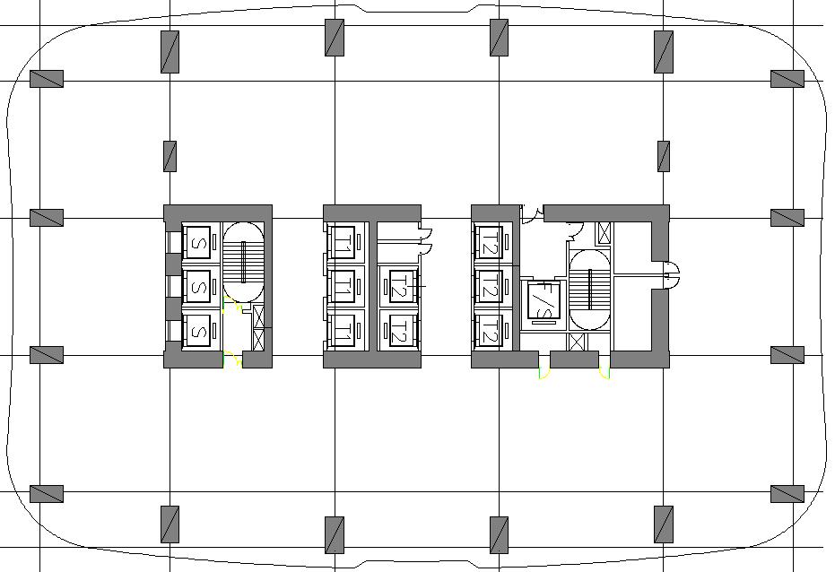 公寓塔楼平面呈长方形,体型规整,高宽比较大,核心筒高宽比达22.